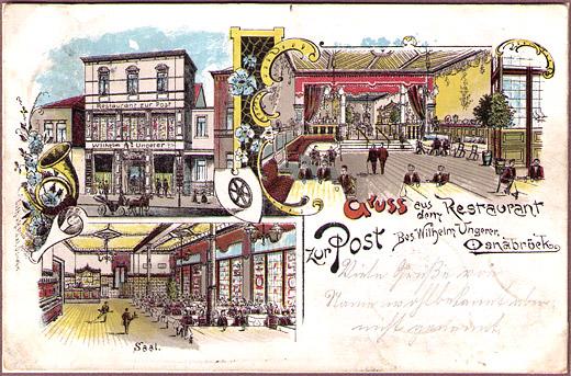Restaurant zur Post Osnabrück - AK gelaufen von Osnabrück nach Georgsmarienhütte 27.02.1902